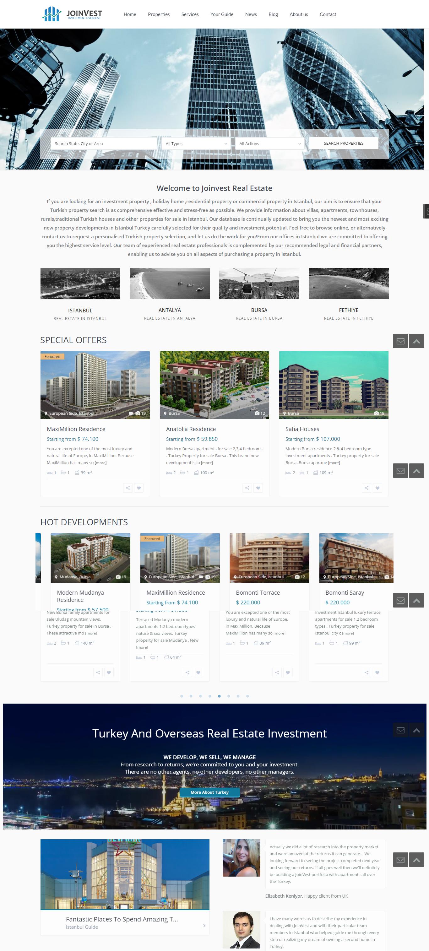 JoinVest Real estate website
